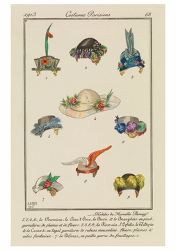 Fashion Plate Depicting 9 Hats Notecard