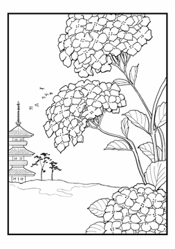 Hiroshige's Flowers Coloring Cards