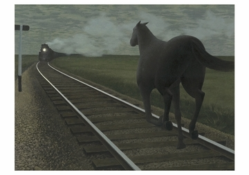 Horse and Train Notecard
