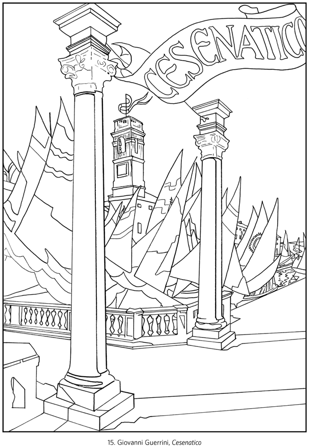 Italy travel posters coloring book for Italian coloring pages