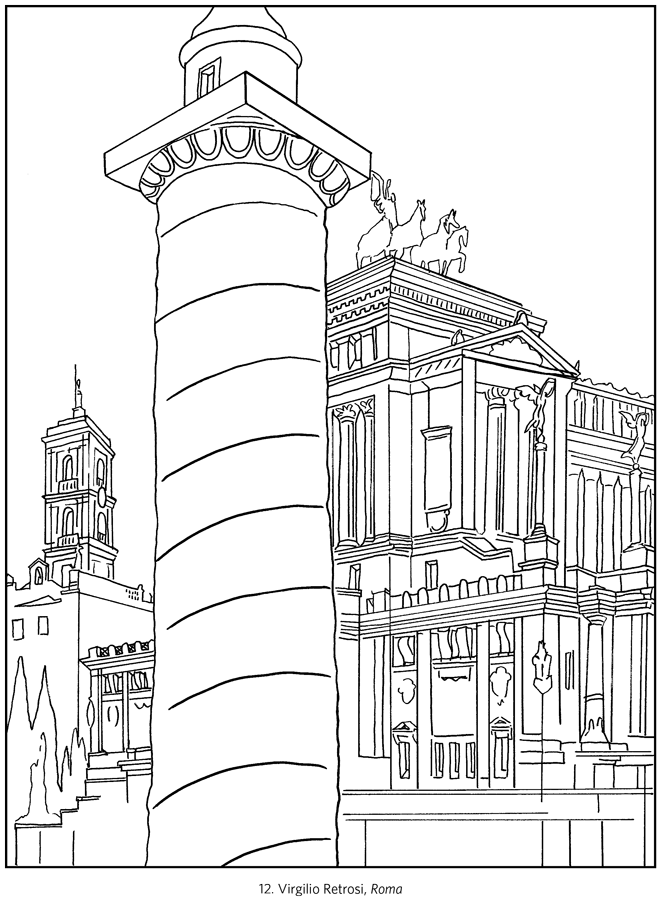Line Art Posters : Italy travel posters coloring book