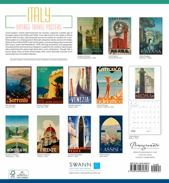 Italy: Vintage Travel Posters 2019 Wall Calendar