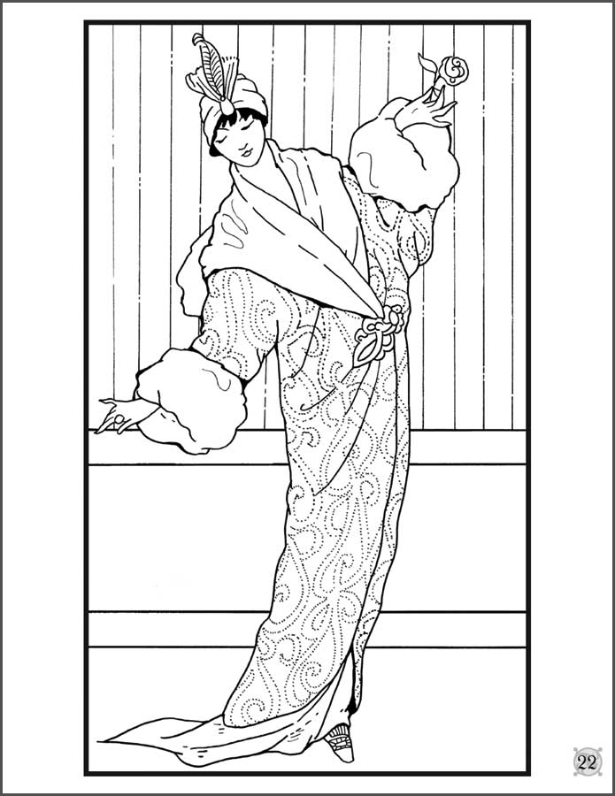 fashion design coloring pages - woman fashion coloring pages