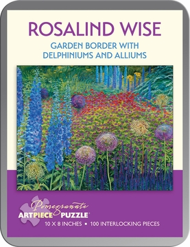 Rosalind Wise: Garden Border with Delphiniums and Alliums 100-Piece Jigsaw Puzzle
