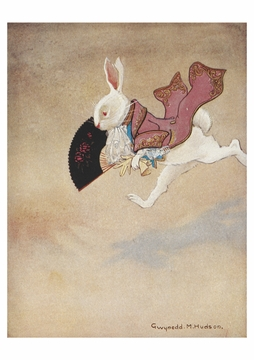 The White Rabbit Running Along Postcard