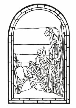Tiffany Stained Glass Coloring Cards