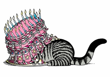 Cat Undercaking Birthday Card