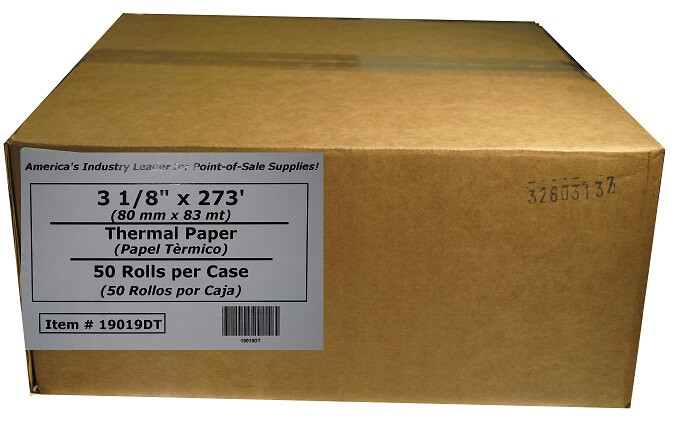 3 1 8 x 273 39 thermal paper roll 80mm x 83m 50 case for 50 273