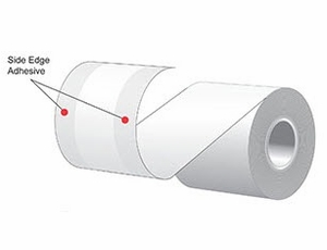 """3.125"""" x 160'  MAXStick 15# Direct Thermal """"Sticky Paper"""" (24 rolls/case) - Side-Edge Adhesive - Blue"""