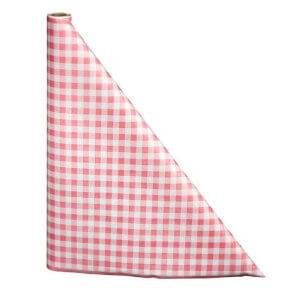 """40"""" x 100'  Paper Table Cover (1 roll) - Red / White Gingham"""