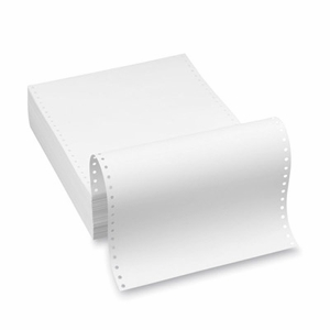 """9 1/2"""" x 11"""" - 20# 1-Ply Continuous Computer Paper (2,500 sheets/carton) Clean Edge Perf - Blank White"""