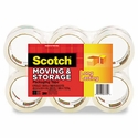 """3M Moving & Storage Tape, 1.88"""" x 54.6 yards, 3"""" Core, Clear, 6 Rolls/Pack"""