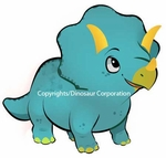 Baby Blue Triceratops Dinosaur Wall Sticker