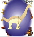 Mini 3D Brachiosaurus Wooden Craft Dinosaur Puzzle Kit, 24 Kits