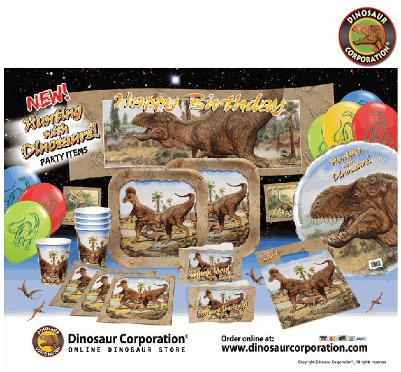 Deluxe T REX Exclusive Dinosaur Birthday Party Tableware Ultimate Pack With Gift Bags For 8 Guests