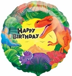"Dinosaur Birthday Balloons, 18"", 12 pcs"