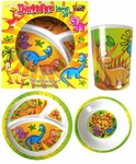Dinosaur Dinnerware Dishes T-rex Triceratops Plate Bowl Cup