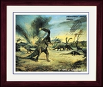 "Dinosaur Extinction, Framed Art Print,17"" x 14"""