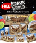 FREE Jurassic World Deluxe T-rex Party Supplies Tableware for 8 Guests with $99+ Order