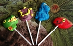 Dinosaur Lollipops Sweet Suckers, 4 pcs