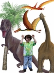 "Dinosaur Collection Wall Mural, 96"" x 96"""