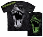 Glowing In Dark Jurassic World T-rex Dinosaur T-shirt Adult Sizes