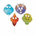Dinosaur Party Stick Props Masks, 6 pcs