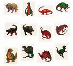 Kids Temporary Dinosaur Tattoos, 72 pcs