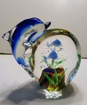 Hand Blown Glass Dolphin Figurine Paperweight