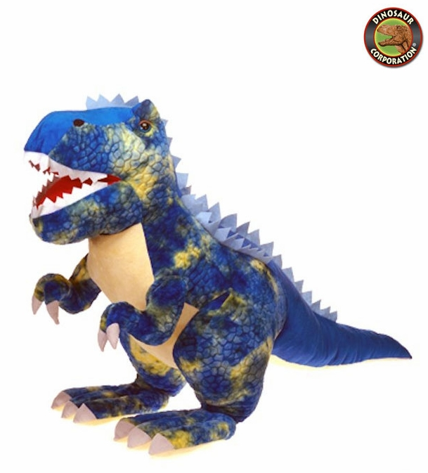 Blue Giant T Rex Stuffed Animal Toy Cuddly Soft Plush Dinosaur With