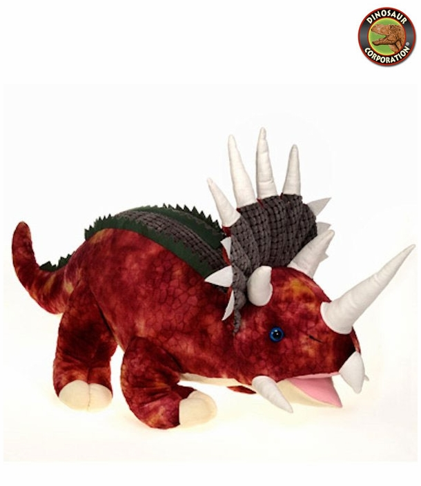 Fiesta Jumbo Red Triceratops Stuffed Dinosaur Toy With Roaring Sound