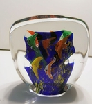 Mid-Century Murano Art Glass Fish Aquarium Block Paperweight Italy