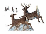 Museum of Natural History Jumping White-Tailed Deer Wild Forest Animal Wall Sticker