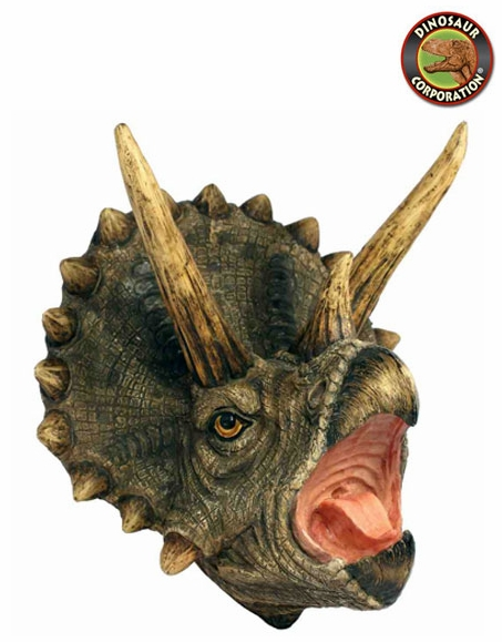 Triceratops Dinosaur Head Wall Sculpture