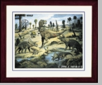 "Prehistoric Dinosaurs T-rex Triceratops Picture Framed 17"" x 14"""