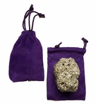 Pyrite Gold Gemstone in Velvet Pouch 12 pcs