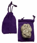 Pyrite Gold Gemstone in Velvet Pouch