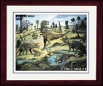 T-rex Triceratops Framed Picture, 17 x 14 inch