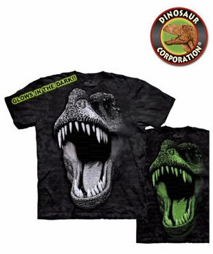 859cbdd2e Glowing In Dark T-rex Face Dinosaur T-shirt
