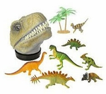 Trex Head,  Carry Case with Dinosaurs Playset, 9""