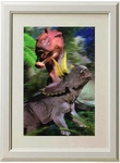 3D Jurassic World Triceratops T-rex Framed Picture