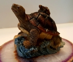 Sea Turtle Model Figure on Coral Base