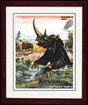 "Woolly Rhino, Coelodonta, Framed Art Picture, 17"" x 14"""