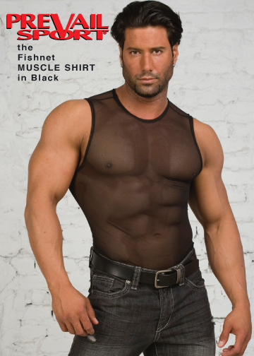 Fishnet Muscle Shirt  in Black