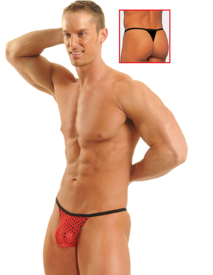 Tropic Net Banded PowerLifter Thong - Red
