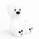 "10"" Cooper White Plush Bear - Side Facing"