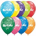"11"" Birthday Streamers & Stars Latex Balloons"