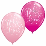 "11"" Baby Girl Stars Latex Balloons"
