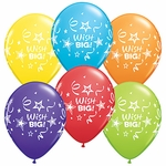 "11"" Wish Big Stars & Streamers Latex Balloons"
