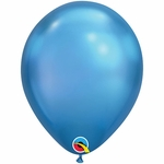"11"" Round Chrome Blue Latex Balloons"